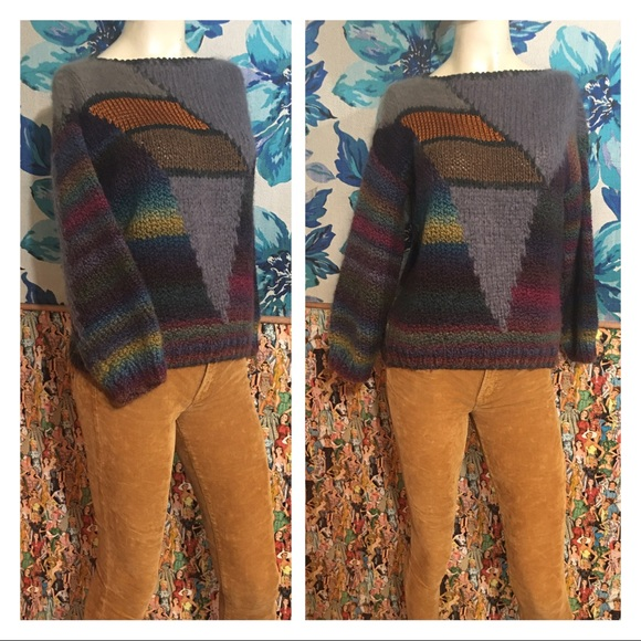 Vintage Sweaters - Amazing True VTG Handknit Artsy Abstract Sweater